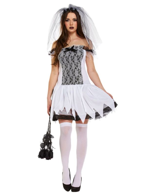 Ladies Sexy Teen Bride Costume for Womens White Widow Dead Zombie Halloween Fancy Dress Costume